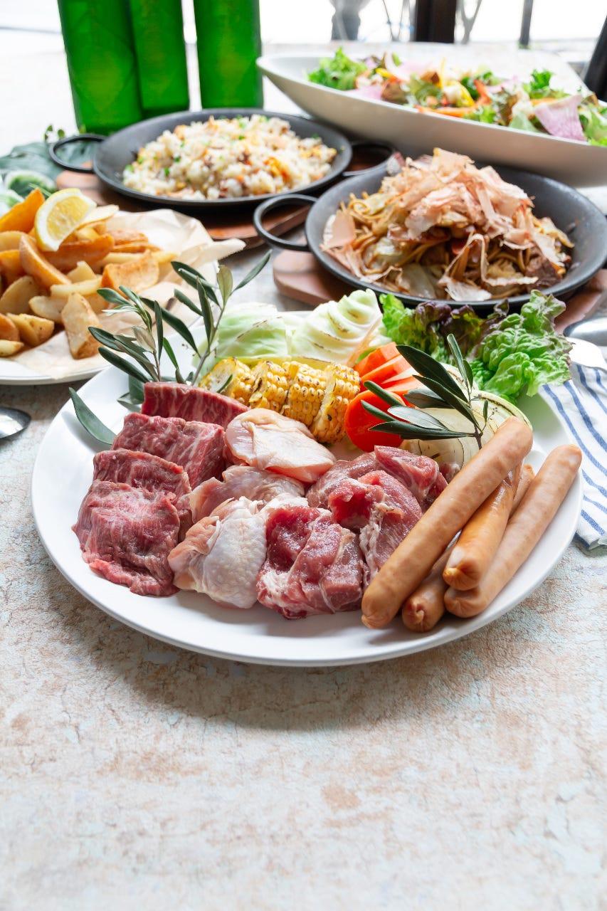 6/15~SUMMER BBQプラン【手ぶらde GARB BBQ+120分飲み放題付】4500円(税込)
