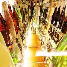岡山の地酒を中心に全50種以上が揃う