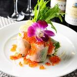 季節野菜と海鮮の生春巻き