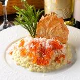 ズワイ蟹といくらのクリームリゾット