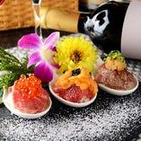 Amuse spoon~黒毛和牛3種の豪華寿司~