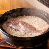 基名物 鯛めしはご注文を受けてから土鍋で炊き上げています