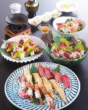【青雲】コース 4800円税別 (造り三種盛り、前菜三種盛り、サーロイン鉄板焼、旬魚を使ったサラダ、上にぎり寿司三貫盛り合わせ、茶碗蒸し、赤出し、デザート)