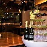 シャンパンタワーもOK!祝いの演出にぜひ。気軽に相談ください!