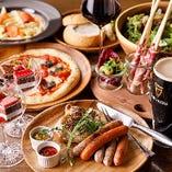 ピザやペンネ、お肉2種盛りなど全7品登場するコース