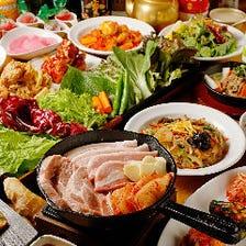 120分飲み放題付!チキン&豚&牛の王道メニューにサムシセキオリジナルの美味しさ『欲張りコース』全10品