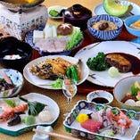 牛フィレとフォアグラのステーキが食べられるコースも。和洋織り交ぜた、創意あふれる会席料理です。