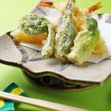 春野菜と海老の天ぷら