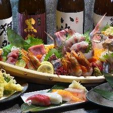 自慢の鮮魚刺身や握り寿司が勢揃い