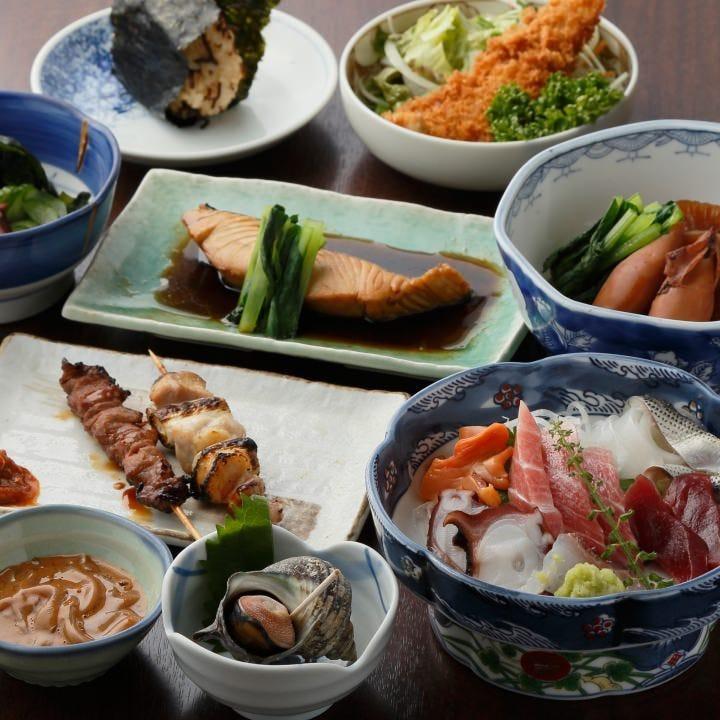 ◆「海鮮フライ」も「お刺身」も「煮付」も楽しめる!リーズナブルな『3,850円(税込)コース』[全9品]
