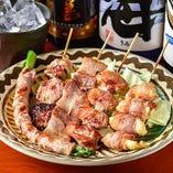 【ジューシーで柔らかい】 ドルチェポルコ豚使用の豚串も人気!