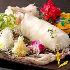 産直・真イカの姿造り   肝の醤油漬け&ゲソの天麩羅付き