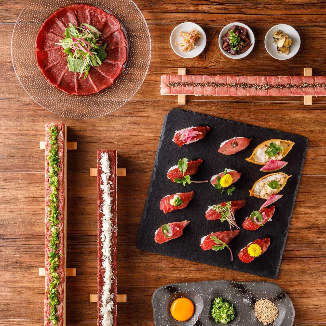 ◆【お料理のみ】インパクト抜群なロングユッケ寿司を満喫『平日限定!女子会コース』[全10品]2,400円