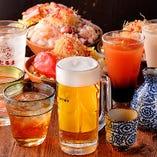 飲み放題メニューも充実!プレミアム飲み放題もご用意しております。
