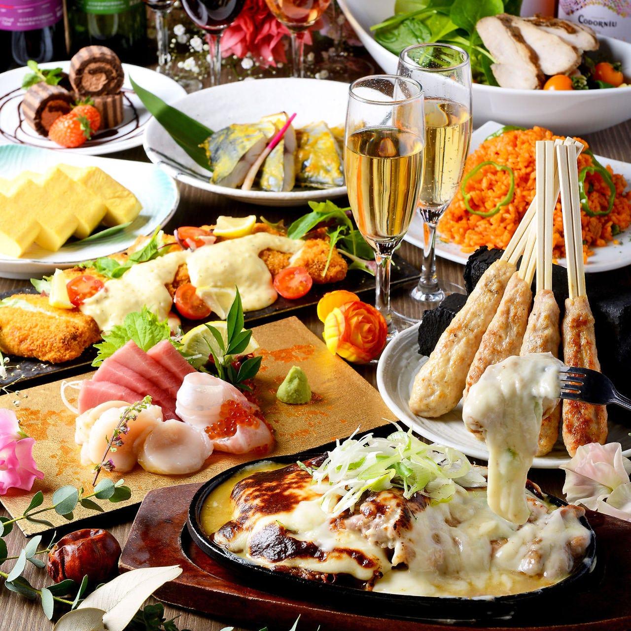10月【2h飲み放題】お造り三種、つくね串、奥三河鶏ステーキなど【坊主コース】3500円《全8品》