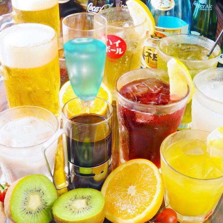 単品飲み放題は120分1,500円(税抜)+500でプレミアム飲み放題