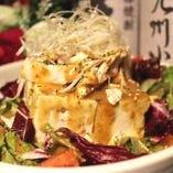 豆腐の棒棒鶏サラダ