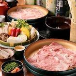 焼肉やすきやき、しゃぶしゃぶの要素を組み合わせた通なお肉好きに人気の「焼しゃぶ」