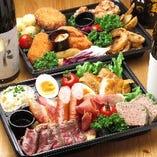 日本酒プレゼント付【肉6種盛り】【揚げ物6種盛り】【アボカドと蒸し鶏の自家製ポテトサラダ 】3点セット