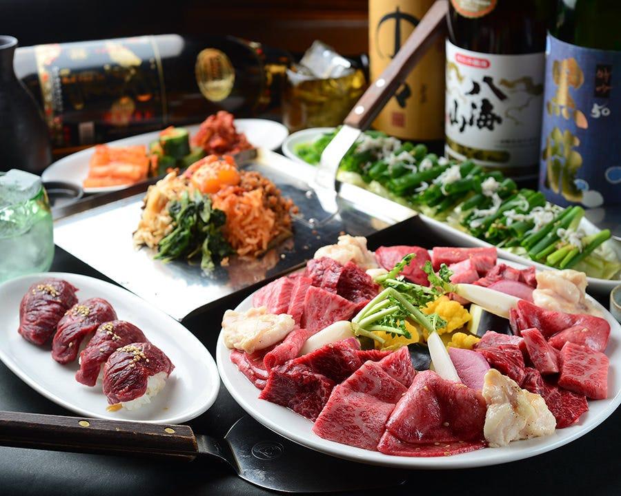 厳選赤身肉づくし★炙りトロユッケやハラミが付いた赤身焼肉コース9900円→7700円(税込)