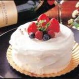誕生日・記念日に★メッセージ入り苺なホールケーキをご用意できます!