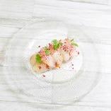 本日の魚のカルパッチョ~キャロットラペと柚子胡椒のドレッシング~