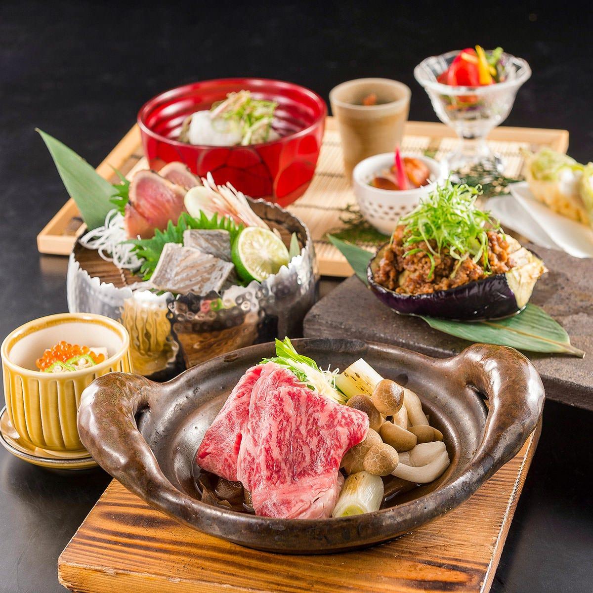 『匠(たくみ)コース』 夏味~加茂茄子・鰹・太刀魚~と国産牛土鍋炊きを愉しむコース(料理のみ)