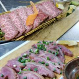 厳選されたA5~A4ランクの県産和牛と山羊の刺身ひーじゃー料理