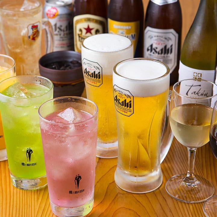 旬の味覚が堪能できる3種類のコースは、全てお得な飲み放題付!