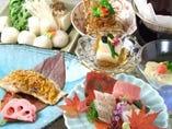 産直鮮魚や季節野菜の創作料理をコースでお楽しみください。