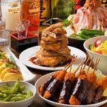 名古屋名物コースは、手羽先と味噌串カツが食べ放題!