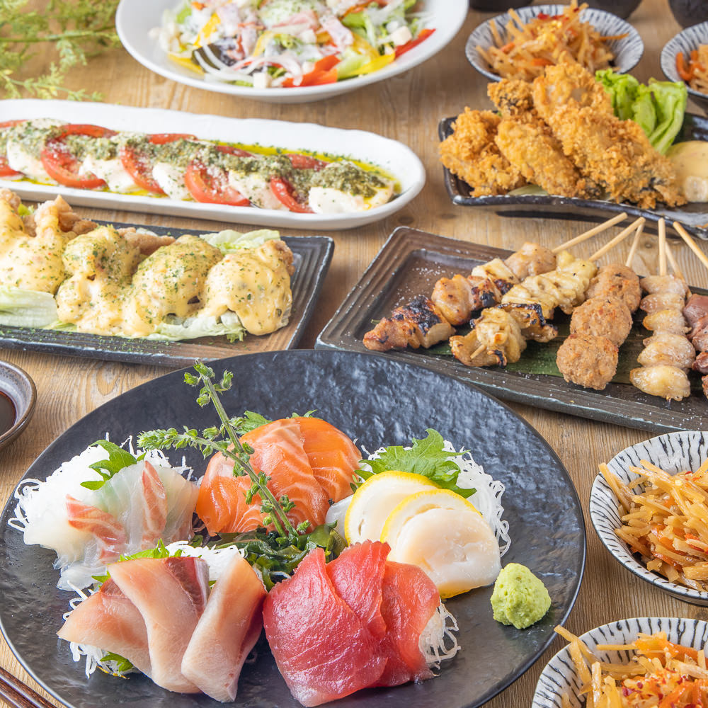 前菜から甘味まで充実したお料理全8品 3時間飲み放題付【桜-さくら-コース】