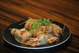 香港麺で巻いたえびのフリッター仕立てスイートチリソース