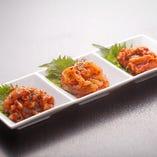海鮮キムチ三種盛り ご飯にも合う、つまみにも最高