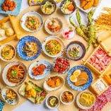 和食を中心としたお料理は全品食べ放題。※写真のメニューは一例です
