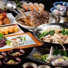 【2時間飲み放題付】鯵の姿造り/鯨の刺盛り/選べる鍋/寿司など(全10品)『新じゃこくじら極コース』