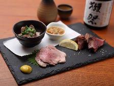 鶏のフォアレバー・豚タン・牛ハツタタキ!渾身の低温調理の肉盛り。