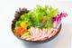 博多無農薬水耕栽培で作った野菜とカニほぐし身の「カニサラダ」