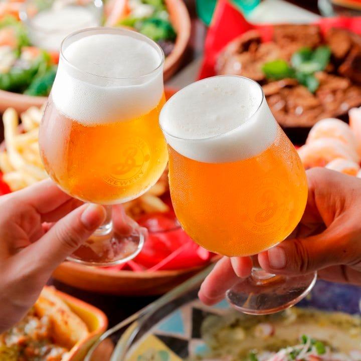 ◆当日OKビール好きにはたまらない!1フードオーダー制+2時間飲み放題付『クラフトビール飲み放題コース』