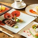 【選べる国産牛ステーキ】目の前でお好みの焼き加減に!鮮魚の鉄板焼き等全7品『かすみランチコース』