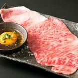 極上肉の「焼きしゃぶサーロイン」は特製玉子ダレでお召し上がりください