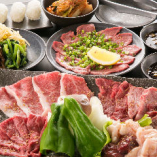 ユッケやタン塩、鶏ササミなどさまざまなお肉が楽しめる「女子会コース」全13品
