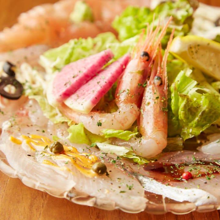 魚の旨味を直に感じる魚魂カルパッチョは全コースで楽しめます!