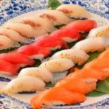 豪華!目の前でシェフが調理する実演にぎり寿司&天ぷら