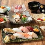 【寿司会席】 上にぎりも楽しめる寿司会席は9,000円(税抜)