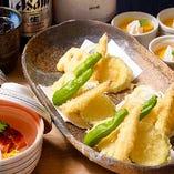 コース内料理:はもと夏野菜の天婦羅