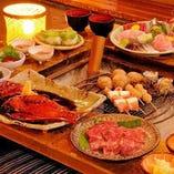 囲炉の炎を眺めながらのお食事は雰囲気も◎