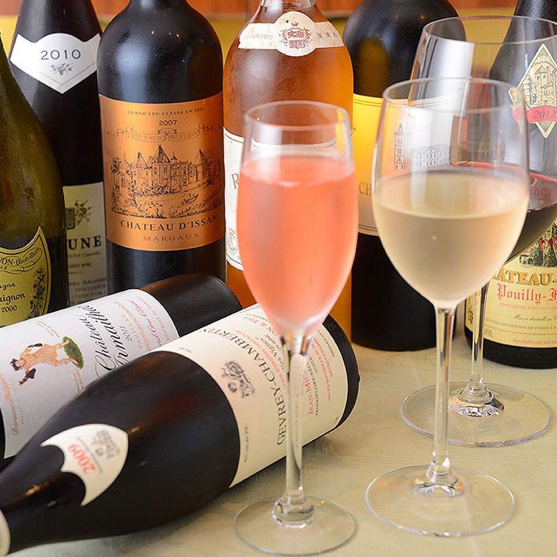豊富なフランス産ワインに食前酒
