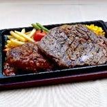 ハンバーグ&リブロースステーキ