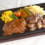 ハンバーグ&アンガス牛のカットステーキ
